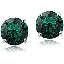 Bria Lou Silver or Gold Flashed Birthstone Color 6mm Round Stud Earrings Made with Swarovski Crystals