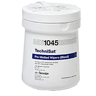 Texwipe Technicloth TechniSat Cleanroom 70% IPA Pre-Moistened Nonwoven Wipes, 6 x 8″, 100 per Can
