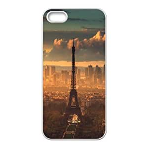IPhone 5,5S Cases the Iconic Eiffel Tower Is Perfectly Captured in this Parisian Photograph of a Golden Sunset., IPhone 5,5S Cases Ediffel Tower for Girls Protective, [White] by trustaaa