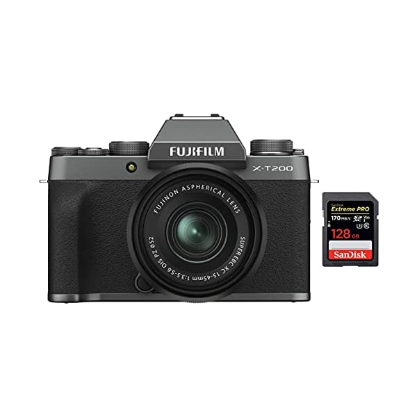 RetinaPix Fujifilm X-T200 24.2 MP Mirrorless Camera + SanDisk 128GB Extreme Pro SDXC UHS-I Card