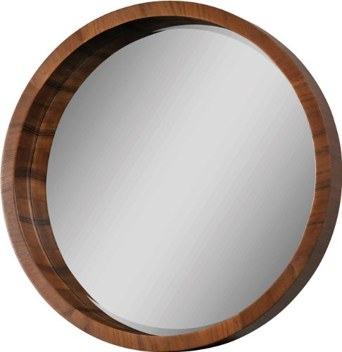 Ren-Wil Round Wall Mirror, Brown - Contemporary round wall mirror Encircled with a handsome walnut veneer frame Designed by artists Jonathan Wilner and Paul De Bellefeuille - bathroom-mirrors, bathroom-accessories, bathroom - 410rTfV1cqL -