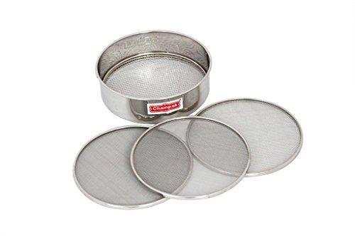 Champak Stainless Steel Sieve 8'' Chalni with 4 Nets, 5 Piece Set, Silver