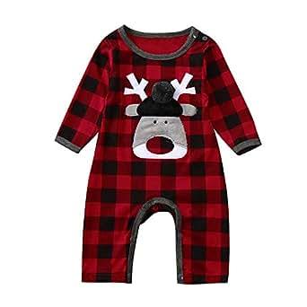 Bodies para Bebe Recién Nacido, ❤️ Zolimx Navidad Bebé Niño Niña Chica Plaid Ciervos Mamelucos Ropa de Monos