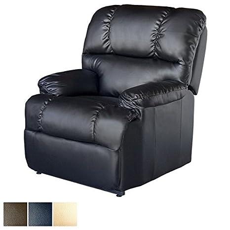 Deluxe - Sillón Relax Masaje Reclinable - Calor Lumbar - 8 Motores De Vibración - Máxima Calidad - (Negro)