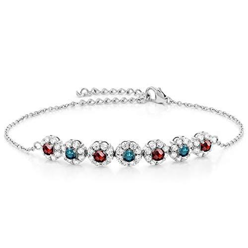 Gem Stone King 925 Sterling Silver 1.45 Ct Checkerboard Red Garnet Blue Diamond Tennis Bracelet
