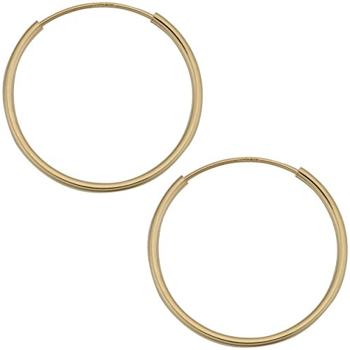 Kooljewelry 14k Yellow Gold 1 mm Thick 18 mm Round Tube Endless Hoop Earrings 14k 1mm Hoop Earrings