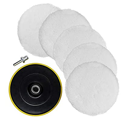 TONGTU 7 Pcs 6 Inch Polishing Buffer Wool and Wheel Polishing Pad Woolen Polishing Waxing Pads Kits with M14 Drill Adapter: Automotive