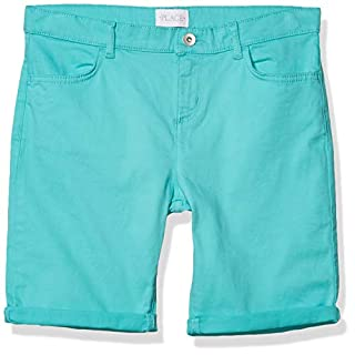 The Children's Place Girls' Roll Cuff Denim Skimmer Shorts Seafrost 6X/7 slim