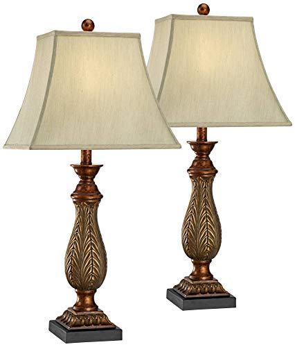 Traditional Table Lamps Set of 2 Two Tone Gold Leaf Linen Rectangular Bell Shade for Living Room Family Bedroom - Regency - Leaf Gold Finish Set