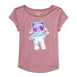 Girls Big Short Sleeve Flip Sequin T-Shirt