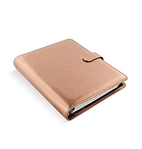 Filofax Saffiano PU-Leather Organizer Agenda Weekly Planner Refillable Calendar with DiLoro Jot Pad Refills (A5 2019, Rose Gold)