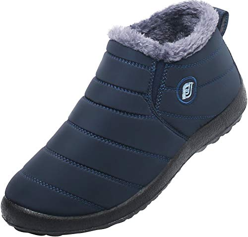 JOINFREE Snow Boots Fur Lined Waterproof Winter Outdoor Slip On Shoes for Womens Navy Blue 6.5 M