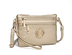 Mkf Crossbody Bags For Women Removable Adjustable Strap Handbag Wristlet Small Vegan Leather Messenger Purse Gold