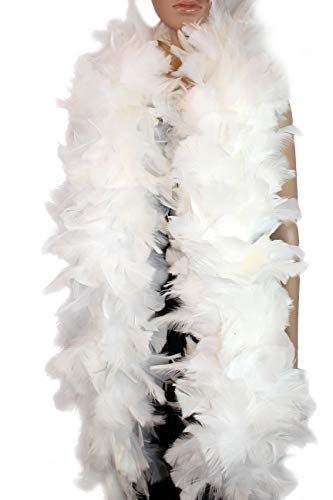 6 Color, 2 Yards -Long, Large Feather Boa, with Turkey Flat Feather Boa, Party, Dress Up, Halloween Costume Decoration (White, 200 g)