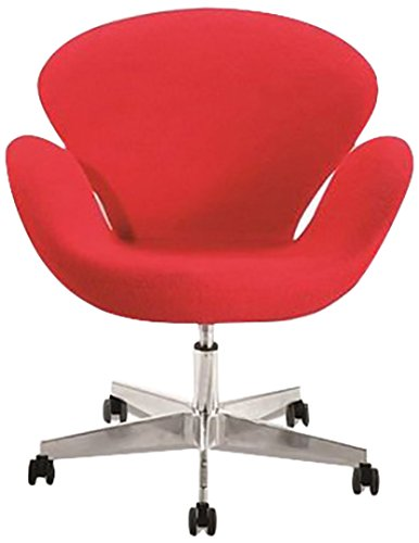 Remarkable Amazon Com Fine Mod Imports Swan Swivel Chair In Red Bralicious Painted Fabric Chair Ideas Braliciousco