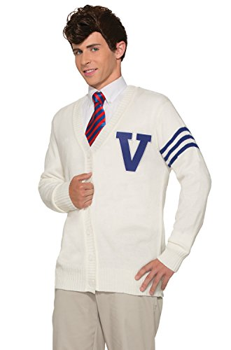 Forum Novelties Men's 50's Varsity Sweater, White, Standard