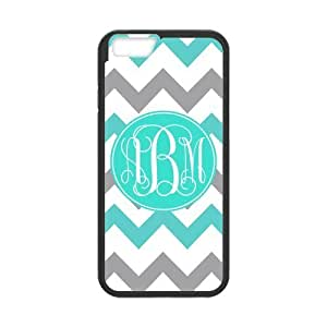Turquoise Gray Chevron Zigzags Pattern & White Initials Personalized Custom Best Hard Plastic Case for iPhone6 ( Only for 4.7 inches)