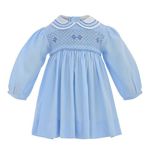 Carriage Boutique Baby Girl Classic Long Sleeve Dress - Pastel Blue, 18M (Infant)