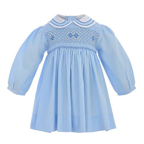 (Baby Girl Classic Long Sleeve Dress - Pastel Blue, 6M (Newborn))