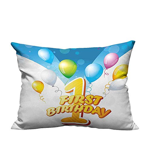 YouXianHome Zippered Pillow Covers First Party Theme Balloons with Abstract Blue Toned Image Blue and Light Decorative Couch(Double-Sided Printing) 11x19.5 inch