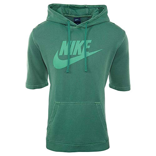 Nike Men's Sportswear Washed Short Sleeve Hooded Pullover (L, Green Noise/White)