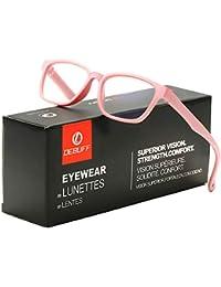 DeBuff Kids Blue Light Blocking Glasses Square Nerd Soft Eyeglasses Frame, UV400 Protection (Baby Pink)