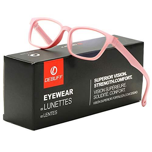 DeBuff Kids Blue Light Blocking Glasses Square Nerd Soft Eyeglasses Frame, UV400 Protection (Baby ()