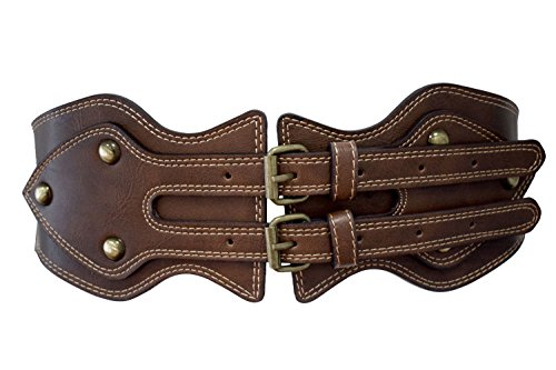 Double Breasted Belt - TeeYee Women Girls Vintage Style Wide Elastic Stretch Waist Band Belt with Double-Breasted Buckle (86cm, brown)