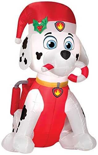 Gemmy Airblown Inflatable 3' Tall Paw Patrol Marshall with Candy Cane Christmas Decoration