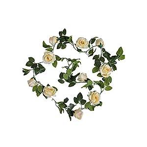 Artificial Flowers 10 Heads Artificial Rose Flower Vines Wedding & Party Decor Hanging Garland Silk Fresh Flower Artificial Rattan Home Garden,Champagne 85