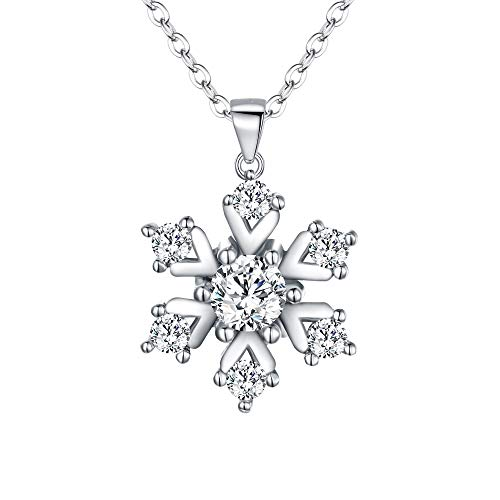 BriLove Women's 925 Sterling Silver Cubic Zirconia Snowflake Pendant Necklace Clear