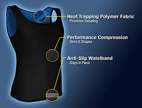 f678e3a25c Sweat Shaper Men s Premium Workout Tank Top Slimming Polymer Sauna Vest for  Weight Loss Tummy Fat