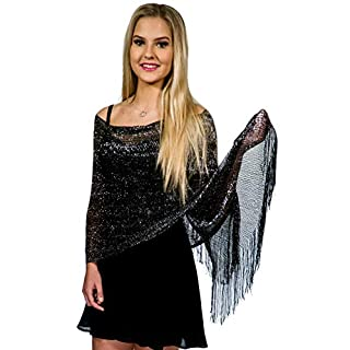 Shawls and Wraps for Evening Dresses, Metallic Sparkle Womens Wedding Black Silver Shawl