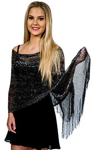 Shawls and Wraps for Evening Dresses, Metallic Sparkle Womens Wedding Black Silver Shawl from ShineGlitz