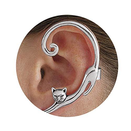 Rings Ebay Silver (Single Punk Style Gold/Silver Plated Cat Post Earring with Ear Cuff Rock Animal Stud Earring Women N)