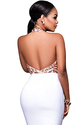 New Ladies champán lentejuelas Halter cuello Bodysuit lencería trikini leotardo Teddies Pole Dance tamaño S UK 8–�?0EU 36–�?8