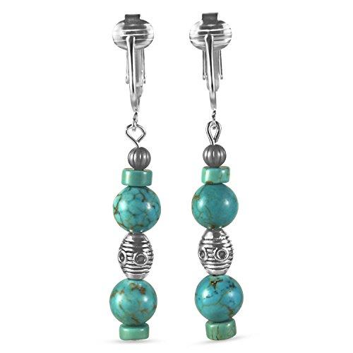 (Trendy Turquoise Clip On Earrings for Women - Teardrop & Cube Clip-on Earrings w Pierced Look, Clip (Romantic Dangle))