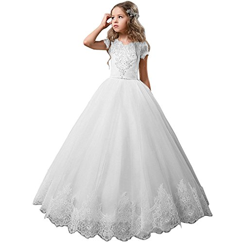 25e4b0f17c6 Gzcdress Short Sleeves Flower Girls Dresses Wedding Lace Long White  Communion Dresses Girls 7-16