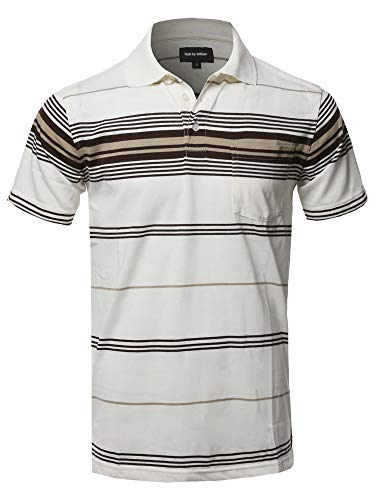(Style by William Casual Stripe Short Sleeve Three Button Polo T-Shirt New Off-White (Pocket))