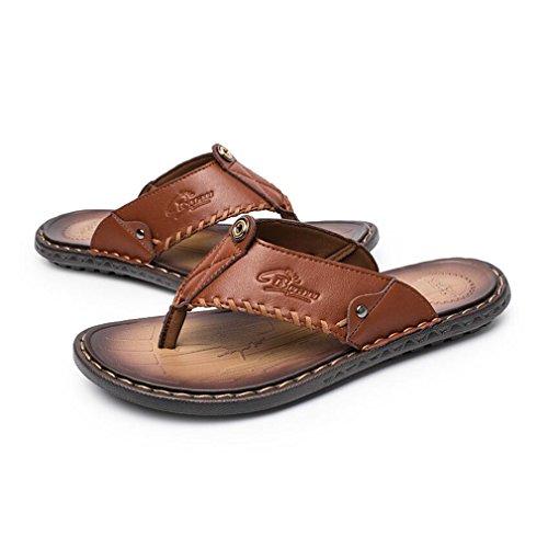Uomo Casual e Ciabatte Infradito per Junkai Fashion Infradito in Leggere Casual Pelle Leggere Marrone Classic Pantofole xzPxOXwq