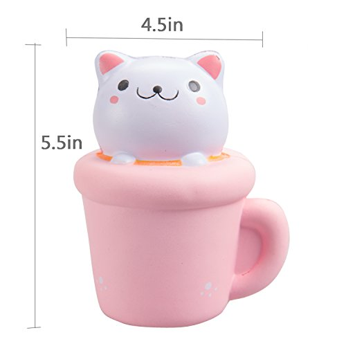 WATINC Kawaii Jumbo Squishy Cat cup & milk Squishy Slow Rising Sweet Scented Vent Charms Kid Toy Hand Pillow Hand Wrist Toy Gift, Stress Relief Toy Toy hop props,Doll Gift Fun Large(Cat cup & milk)