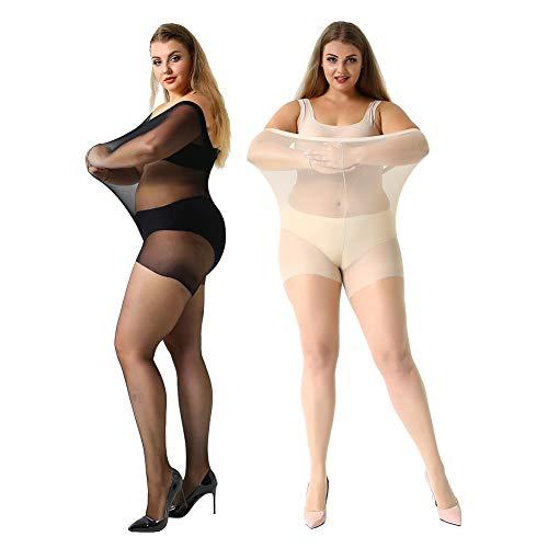 (MANZI Women's 2 Pairs Control Top Plus Size Pantyhose Sheer to Waist Tights)
