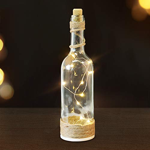 Bright Zeal 12 LED Wine Bottles with Lights Inside Them (Clear Glass Bottle, Jute Twine Wrapped) - Lighted Wine Bottle Decor LED Table Light - Wine Bottle String Lights Timer Home Decor Bottles