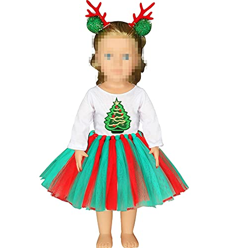 Erweicet Christmas Tree Costume Tutu Dress for 18 Inch Girl Doll, My Life Doll Clothes, Including T-Shirt, Tutu Dress, Headwear(Doll not Included)