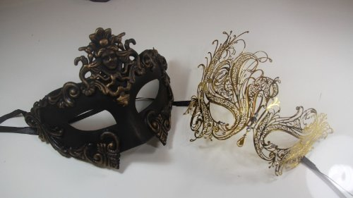 (New His & Hers Phantom Masquerade Masks - Bestselling Black Half Gold)