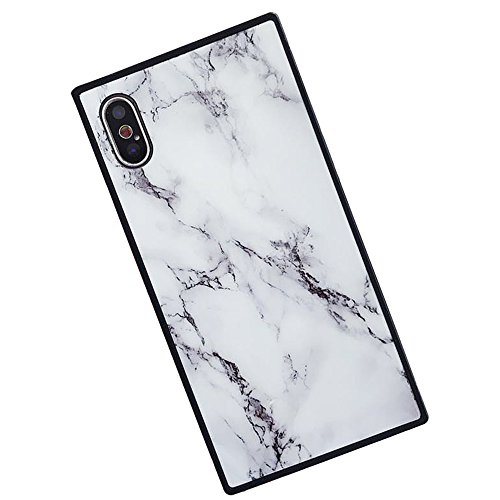 for iPhone 6 Case iPhone 6S Case LAPOPNUT Cool Marble Pattern Design Case Novelty [Square Shape Series ] Soft TPU Protective Case Cover Shock Absorption Back Bumper, White - Shape Protective Case