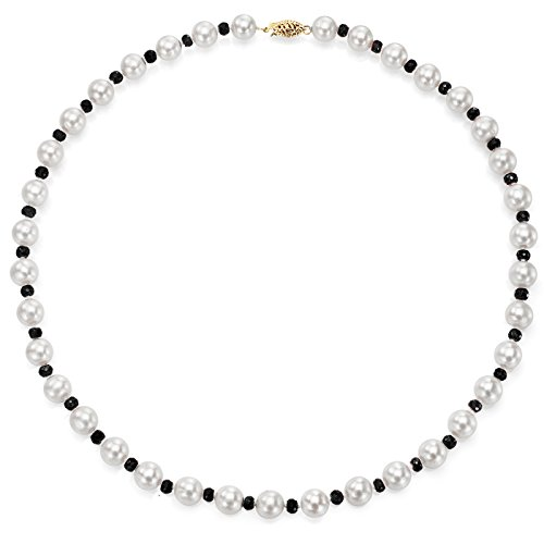 La Regis Jewelry 14k Yellow Gold 8-8.5mm White Freshwater Cultured Pearl and 4-4.5mm Simulated Onyx Necklace, 18