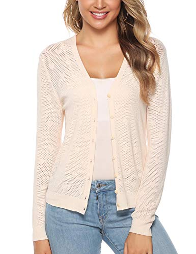 iClosam Women Knitted Bolero Shrug Long Sleeve Crochet Button Down Cardigan Sweater (#4Beige, Small)