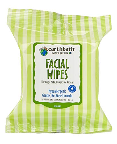EARTHBATH 026361 25 Count Facial Wipes Pouch for Dogs, Cats, Puppies and Kittens ()