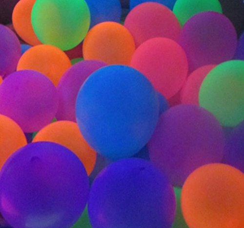 Blacklight Party Balloons (100 pack) that Glow in the Dark under Blacklight - 100 Pack of 11 inch Neon Flourescent Latex Balloons by 3Cats Art Supplies